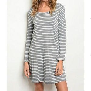 Dresses & Skirts - Gray & White Striped Dress w/Pockets